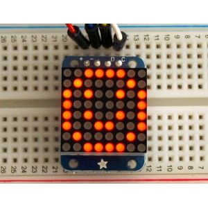 Adafruit Mini 8x8 LED Matrix w/I2C Backpack - Red -