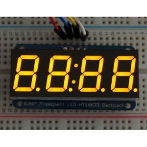 "Adafruit 0.56"" 4-Digit 7-Segment Display w/I2C Backpack - Yellow -"