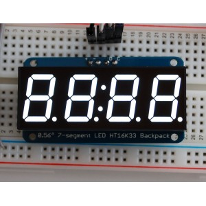 "Adafruit 0.56"" 4-Digit 7-Segment Display w/I2C Backpack - White -"